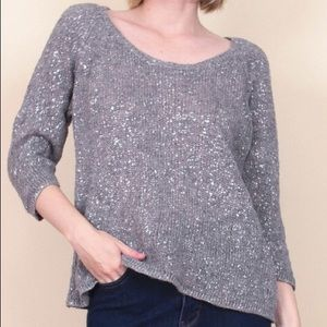 Eileen Fisher metallic linen blend silver sweater